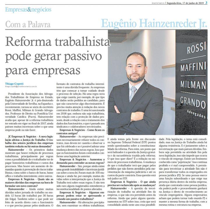 17.06.2019 - Jornal-do-Comércio-Empresas-e-Negócios-Reforma-Trabalhists-Entrevista-com-Eugênio-RMMG