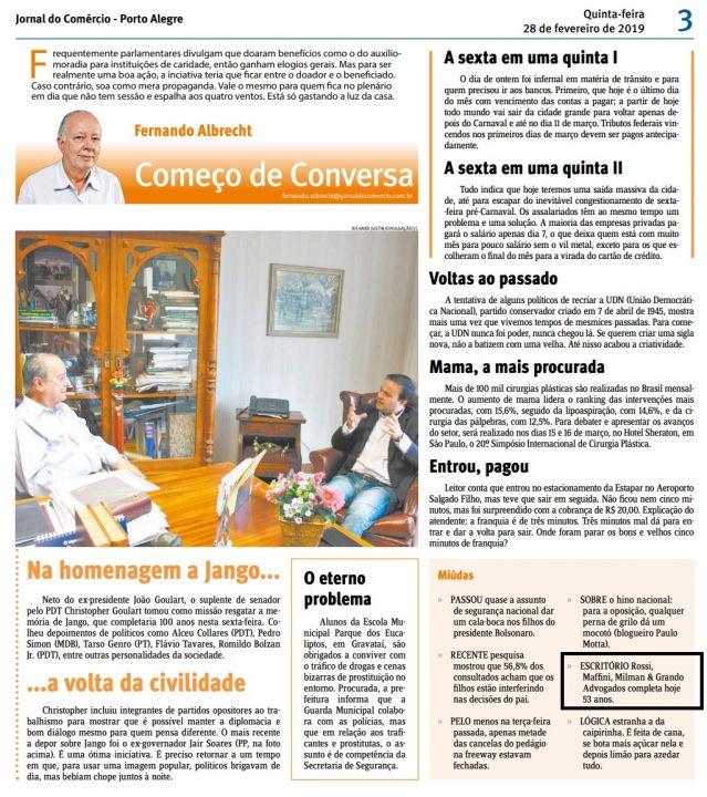 28.02.2019 Jornal do Comercio aniversario 53 anos RMMG