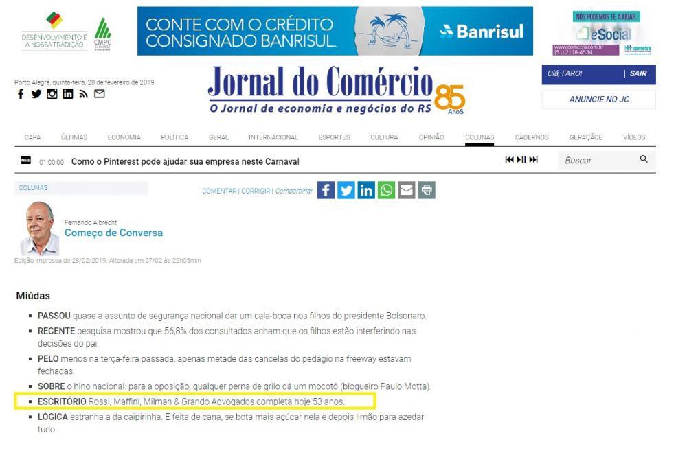28.02.2019 Jornal do Comercio online aniversario 53 anos RMMG